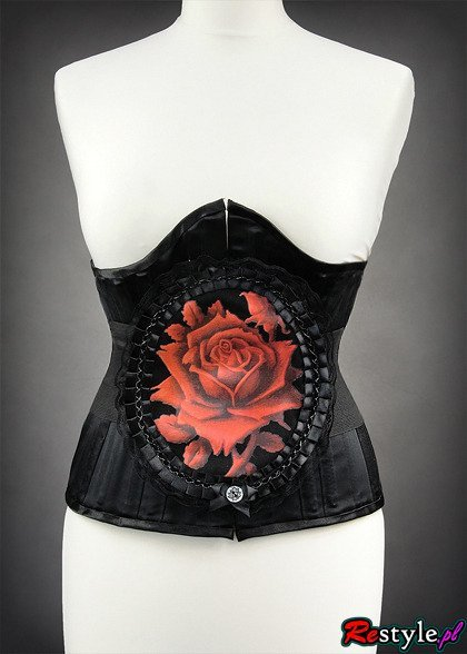 Waist elastic belt RED ROSE in lace frame