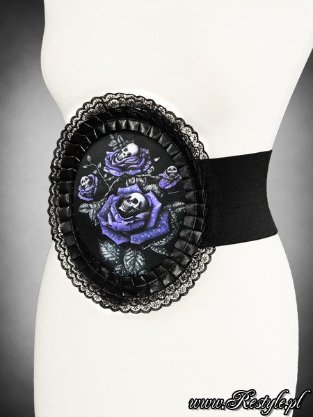 "Waist elastic hologram cameo belt  ""DEADLY ROSES"" in lace frame"