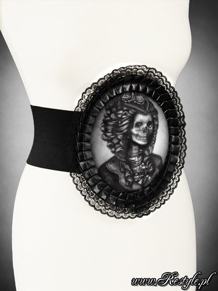 "Waist elastic hologram cameo belt  ""SKELETON LADY"" in lace frame"
