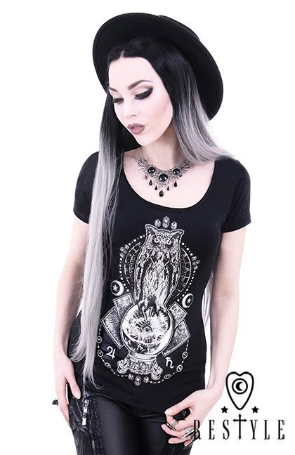 "black t-shirt ""OCCULT OWL"" magic bowl, moon, gothic blouse"