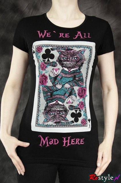 black t-shirt We're All Mad Here cheshire cat card Wonderland