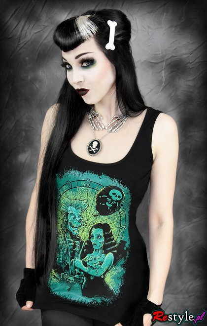 black tank top ZOMBIE LOVE ferris wheel horror top