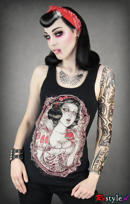 black tank top with dead, rotten Snow White