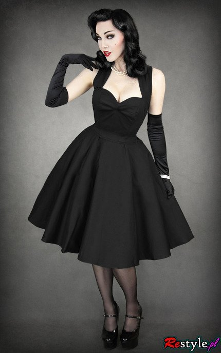 Pin Up 50 39 Black Dress Heart Neckline Elegant Retro