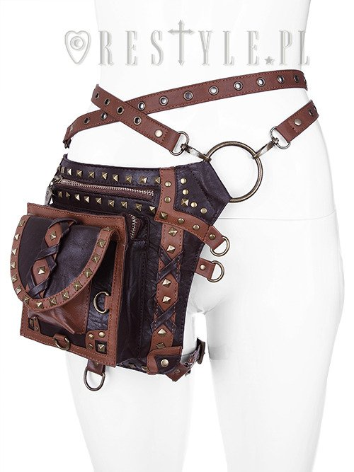 BROWN STUDDED HOLSTER BAG  Steampunkowy pasek, torba na ramię, nerka