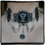 "Gothic collar, occult jewellery, Leviathan cross ""SILVER LUCIFER CHOKER"""