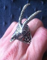 """GAZELLE SKULL SILVER"" ring, arsenic, antlers, animal skull"