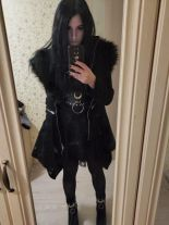 Black long gothic coat with oversized furry hood MYSTERIUM COAT