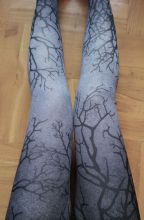 "Ombre legginsy ""GRAY BRANCHES"" szare, cieniowane getry, drzewo"