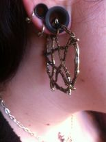 "Gothic hoop earrings, occult fashion ""BRANCH PENTAGRAM EARRINGS"""