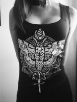 "Tank top Dark symbols, Gothic blouse, black singlet ""OCCULT MOTH"""