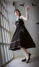 "Black gothic dress with bat wings, 50' style, retro skirt ""BAT DRESS"""