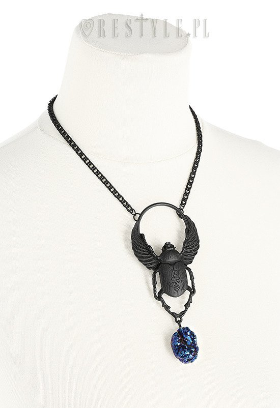 "Black Pendant with crystal ""SCARAB NECKLACE"""