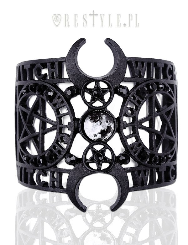 """WITCHCRAFT BRACELET"" Gothic bangle, Moon Cuff, pentagram"