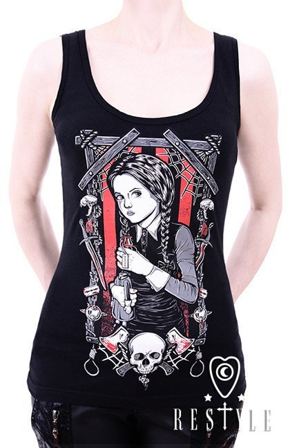 "Tank top ""WEDNESDAY ADDAMS"" Gothic blouse, black singlet"