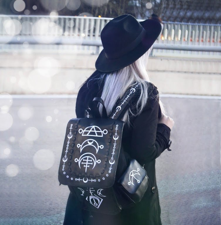 """RUNIC MOON WHITE BACKPACK"" with pockets, School bag,"