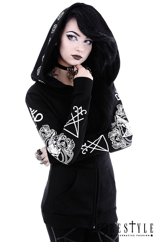 """RITUAL HOODIE"" Blouse with oversized hood, ram skull and pentagram"