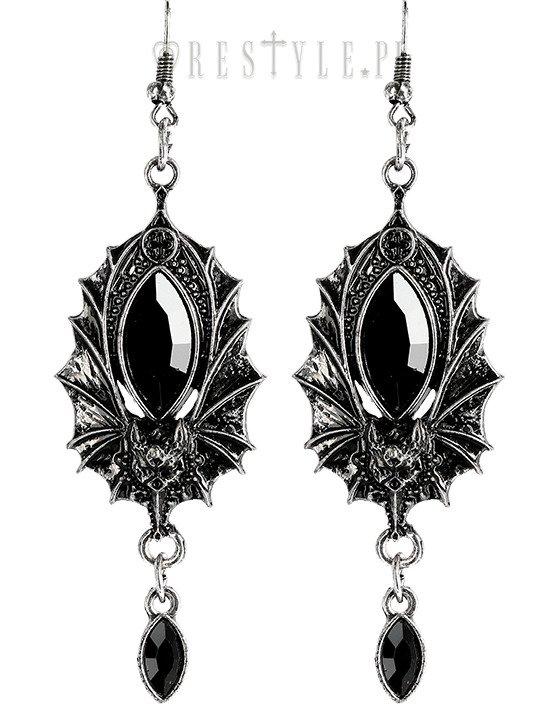 Gothic Earrings Bat Silver