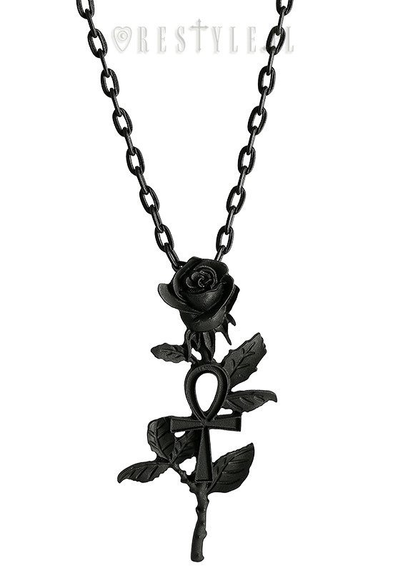 Black pendant ankh rose jewellery necklaces restyle black pendant ankh rose aloadofball Images