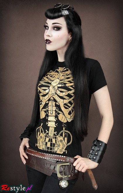 Black t-shirt steampunk MECHANICAL Skeleton ribs and pelvis