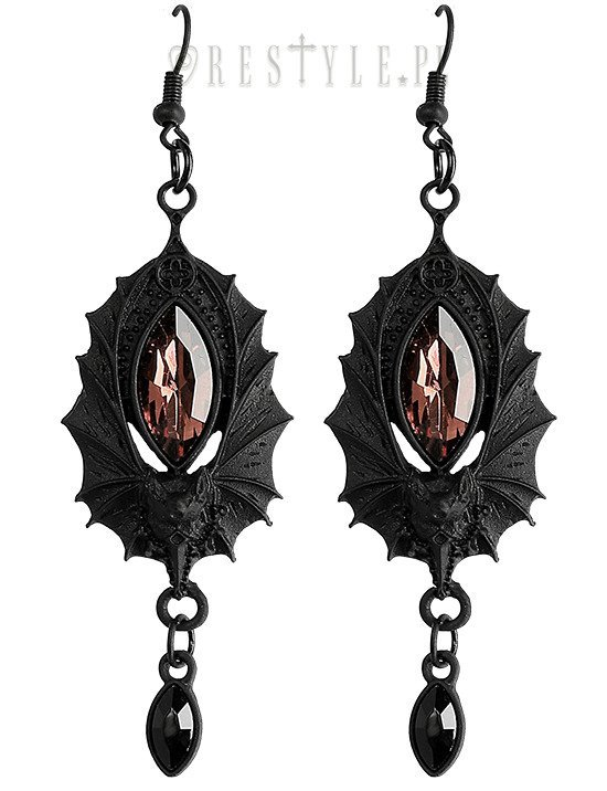 Gothic Earrings Bat Black