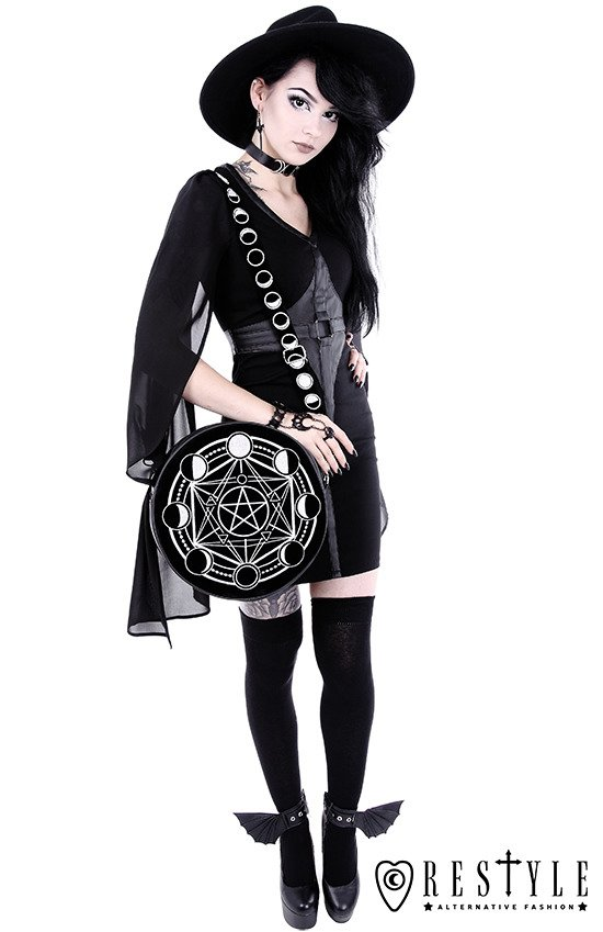 """Moon Circle Bag"" Round, gothic purse"