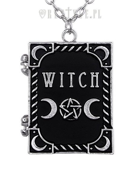 "Locket pendant, book shaped necklace, occult jewellery, crescent ""WITCH"""