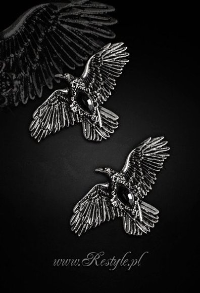 """BLACK DIAMOND RAVENS"" hairclips, pair of gothic crows hair pins"