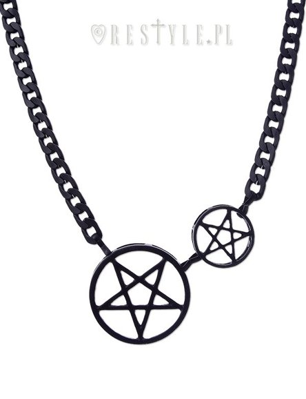 """BLACK DOUBLE PENTACLE CHAIN"" Thick Pentagram necklace"