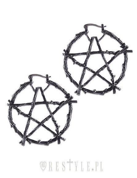 """BRANCH PENTAGRAM EARRINGS"" hoop earrings, occult fashion"