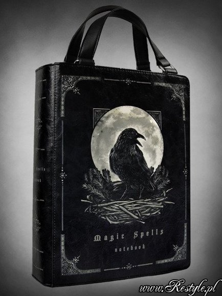 "Black BOOK bag ""Magic Spells"" gothic handbag, raven moon"