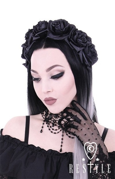 Black Roses gothic headband, gothic wreath, garland headpiece