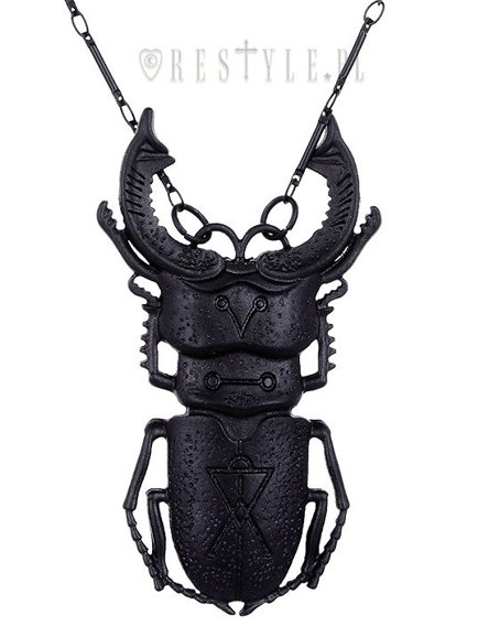 "Black beetle necklace arsenic, occult jewellery, Insect pendant ""BEETLE BLACK necklace"""