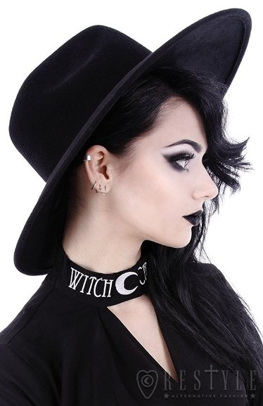 "Black gothic Wide brim hat, stiff, nugoth headdress ""WITCH"""
