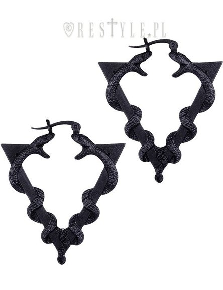 "Black gothic hoop earrings, occult jewellery""SERPENTINE BLACK EARRINGS"""