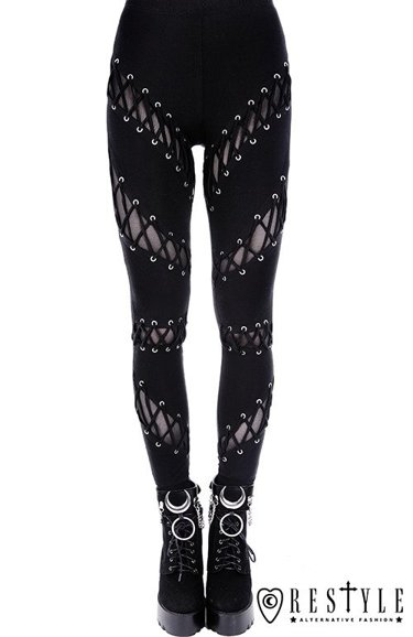 "Black gothic leggings with corset lacing, nugoth trousers""LACED UP LEGGINGS"""