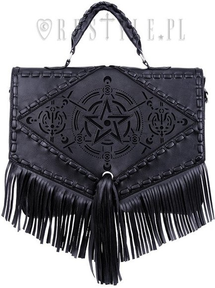 "Black gothic satchel with fringe, laser cut pentagram, alchemical symbols ""Boho Witch Bag"""