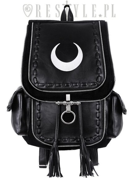 "Black school bag, with pockets, 90s backpack moon bag""CRESCENT WHITE BACKPACK"""
