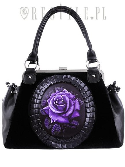 "Cameo bag ""PURPLE ROSE"" Black Velvet, gothic, romantic handbag"