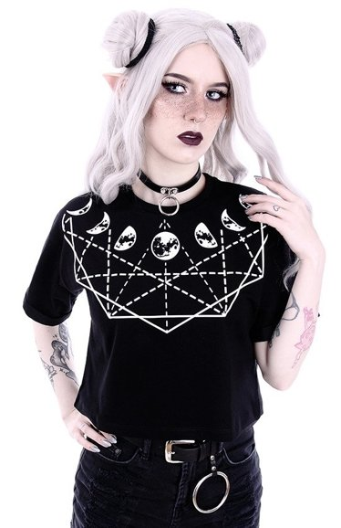 "Crop Top Gothic blouse with moon phases ""MOON GEOMETRY"""
