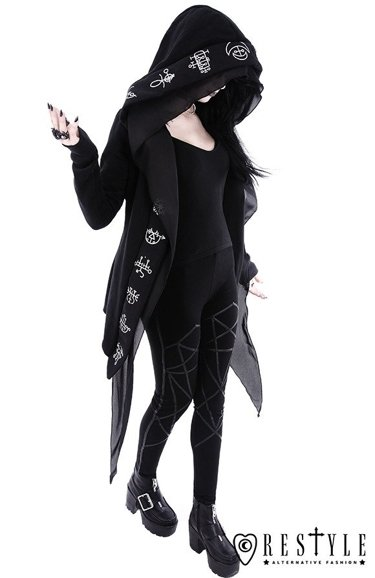 """DEMON HOODIE"" Long, Gothic jacket with oversized hood"
