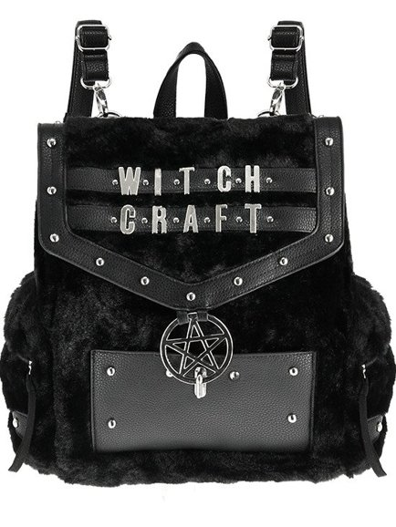 aa0b6f197e14 FUR WITCHCRAFT BACKPACK Black Gothic Bag with pentagram