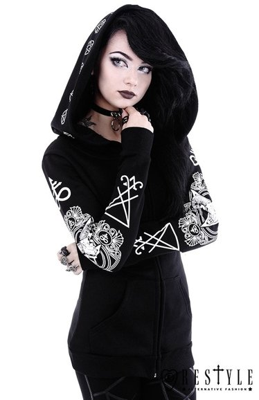 "Gothic Blouse with oversized hood, ram skull and pentagram ""RITUAL HOODIE"""