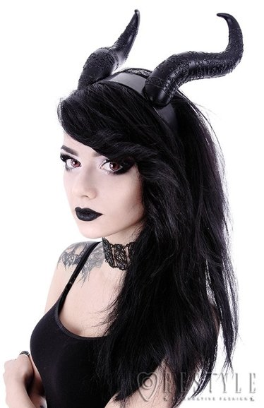 Gothic Headpiece, Black headband, satan horns EVIL HORNS