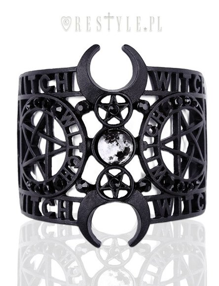 "Gothic bangle, Moon Cuff, pentagram ""WITCHCRAFT BRACELET"""