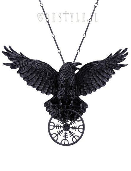 """HELM OF AWE RAVEN PENDANT"" Nordic protection talisman, black crow, healing rune"