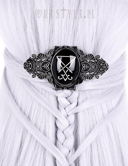 """LUCIFER SILVER HAIRCLIP""  Hair barette, Occult jewellery, Gothic hairclip"