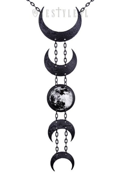 """LUNAR BLACK NECKLACE"" Crescent long pendant, occult jewellery, luna"