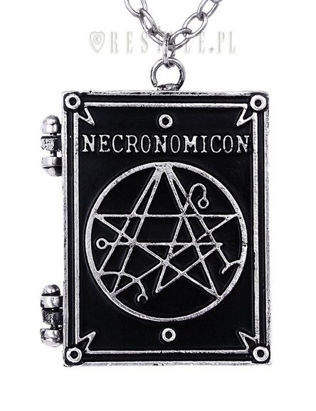 "Locket pendant, book shaped necklace, occult jewellery, crescent ""NECRONOMICON BOOK"""