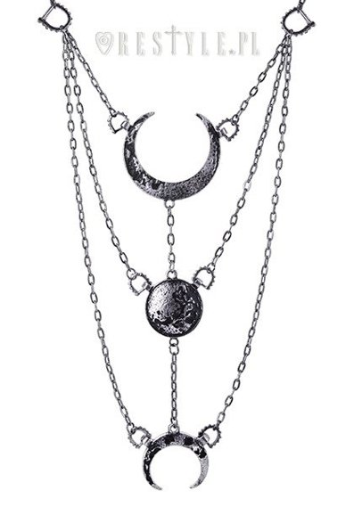 "Long Crescent pendant, occult jewellery, luna ""MOON PHASES SILVER NECKLACE"""